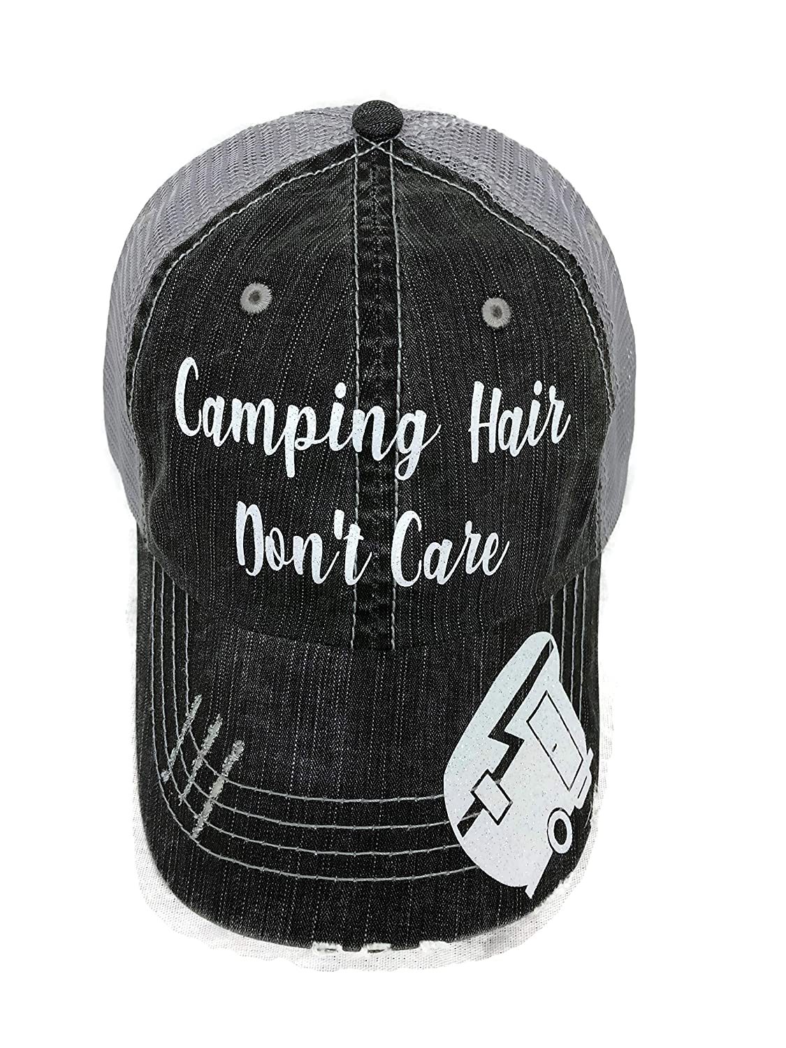 White Glitter Camping Hair Don't Care Grey Trucker Cap Hat Camper