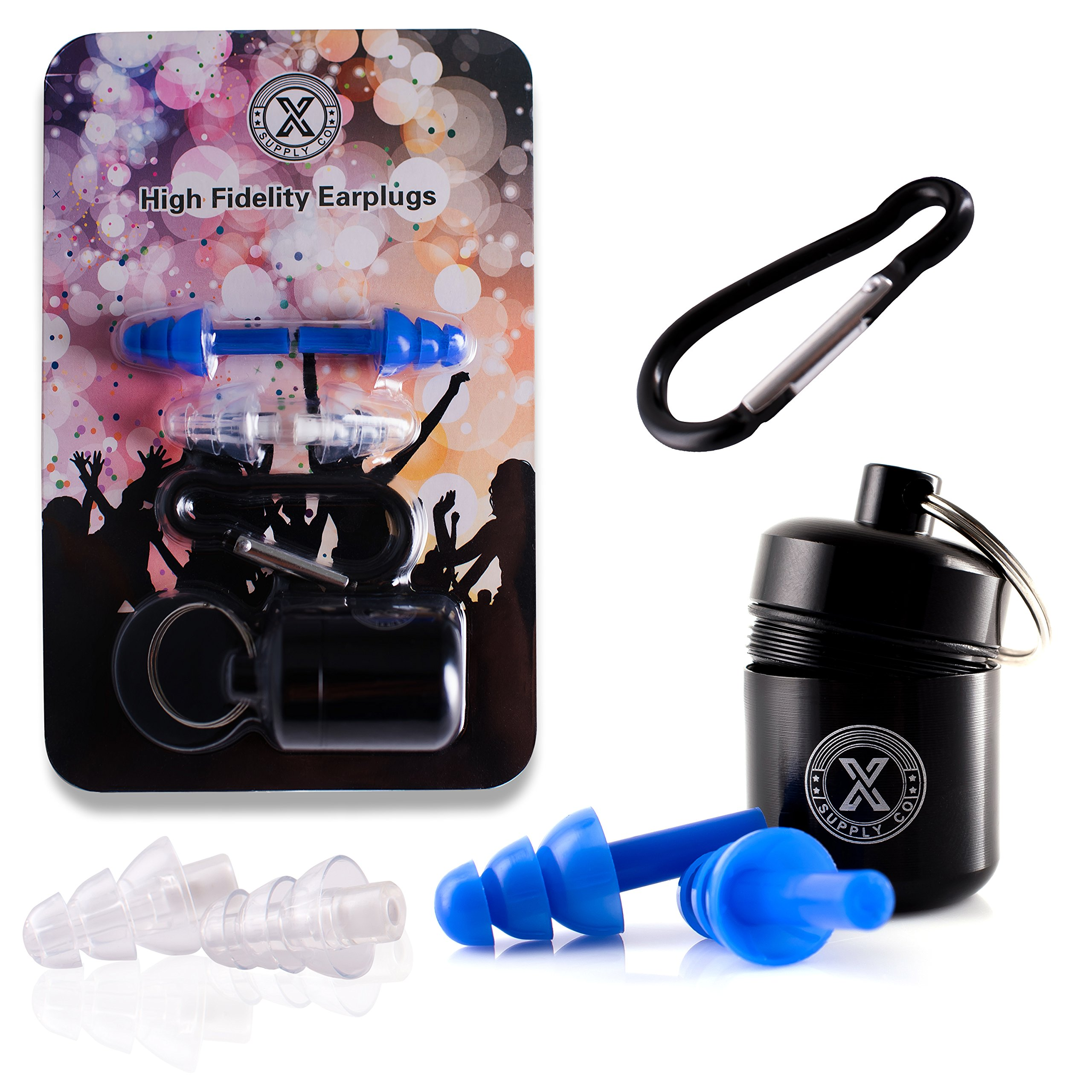 X Supply Co High Fidelity 2 Earplugs Set With Cord, Storage Case & Keychain | Ergonomic & Hypoallergenic Silicone Noise Cancelling Ear Protectors For Musicians, Festivals, Travel, Motorcycles & More