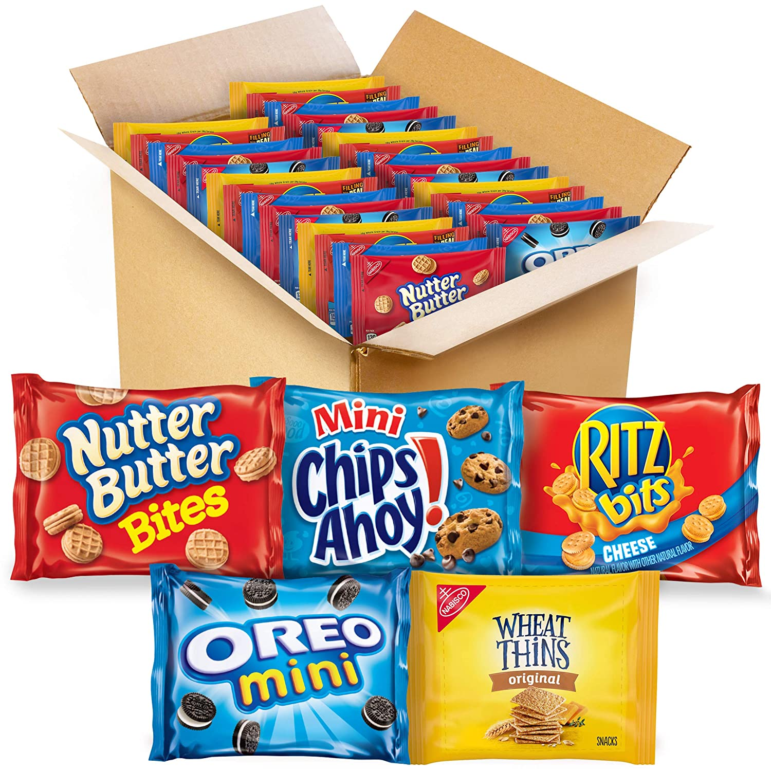 OREO Mini Cookies, Mini CHIPS AHOY! Cookies, RITZ Bits Cheese Crackers, Nutter Butter Bites & Wheat Thins Crackers, Nabisco Cookie & Cracker Variety Pack, 50 Snack Pack