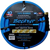 "Zephyr Next-gen Garden Hose (1/2"" x 50ft, Ultra-Light Flexible Rubber, Brass Fittings), Blue"