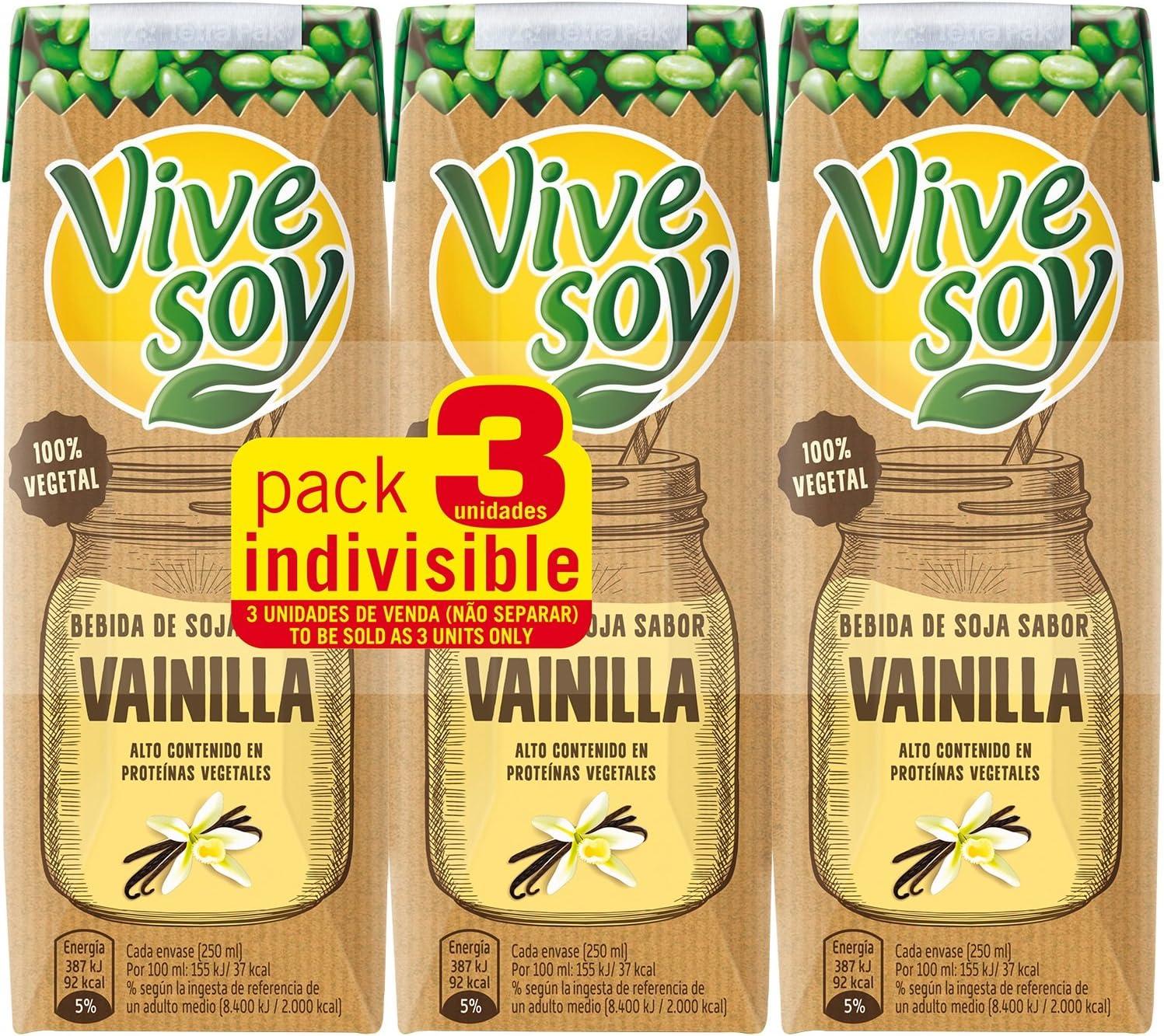 Vivesoy - Bebida de Soja sabor Vainilla - Paquete de 3 x 250 ...