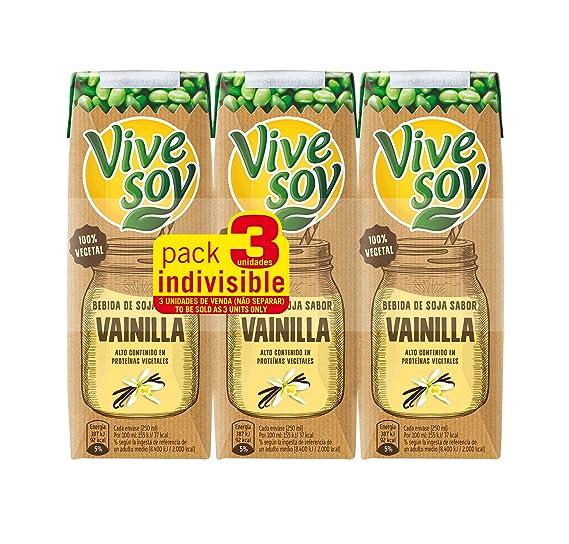 Vivesoy - Bebida de Soja sabor Vainilla - Paquete de 3 x 250 ml - Total