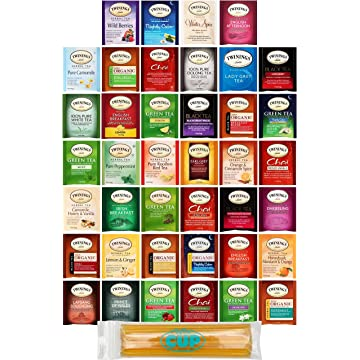 powerful Twinings Assorted Tea Bags Variety Pack - 40 ct Hot Tea Sampler: Chamomile
