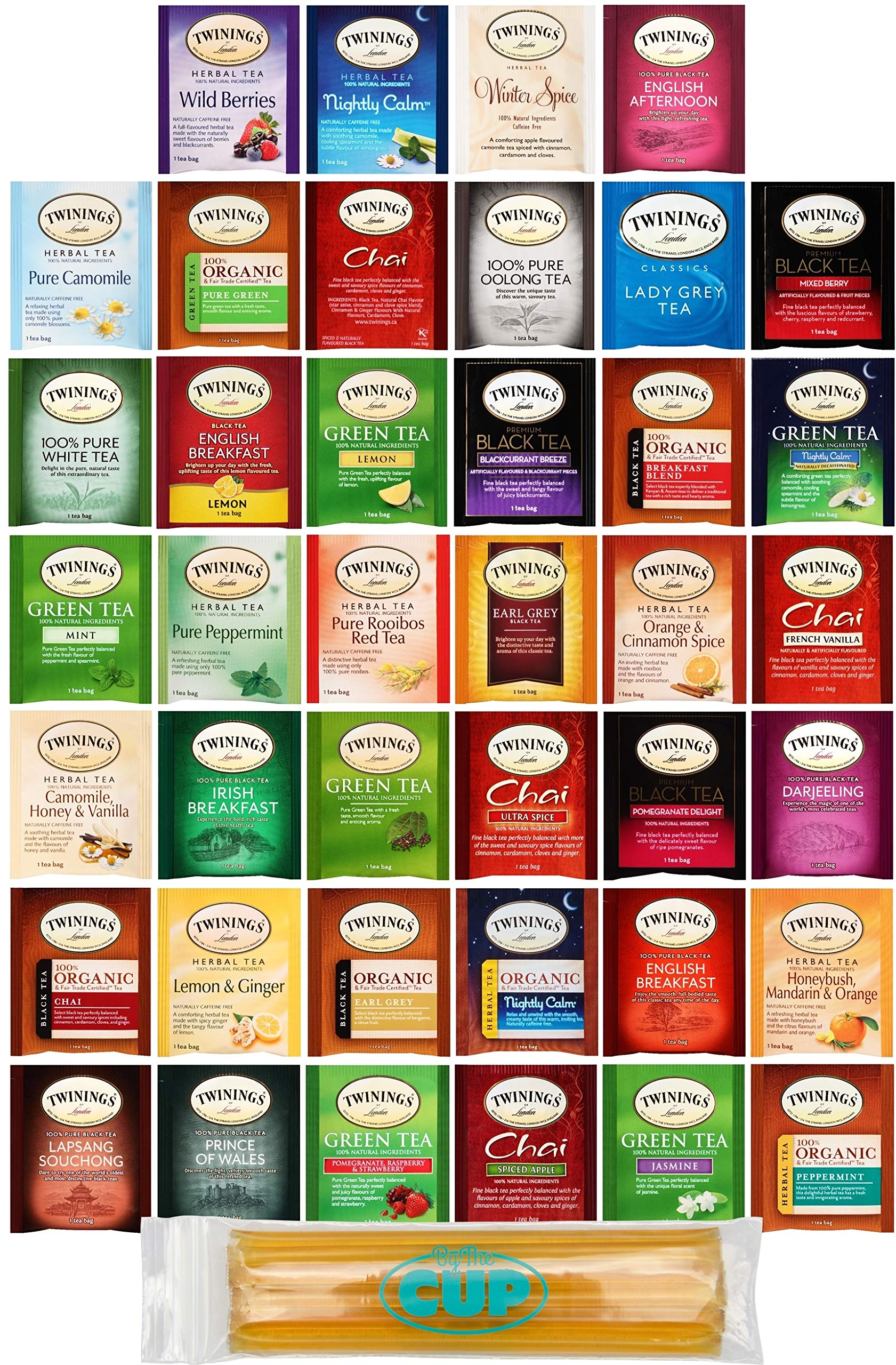 Twinings Assorted Tea Variety Pack - 40 ct Hot Tea Sampler: Camomile, Chai, Black, Herbal, Rooibos, Green, Earl Grey English Breakfast, Organic with By The Cup Honey Sticks by By The Cup