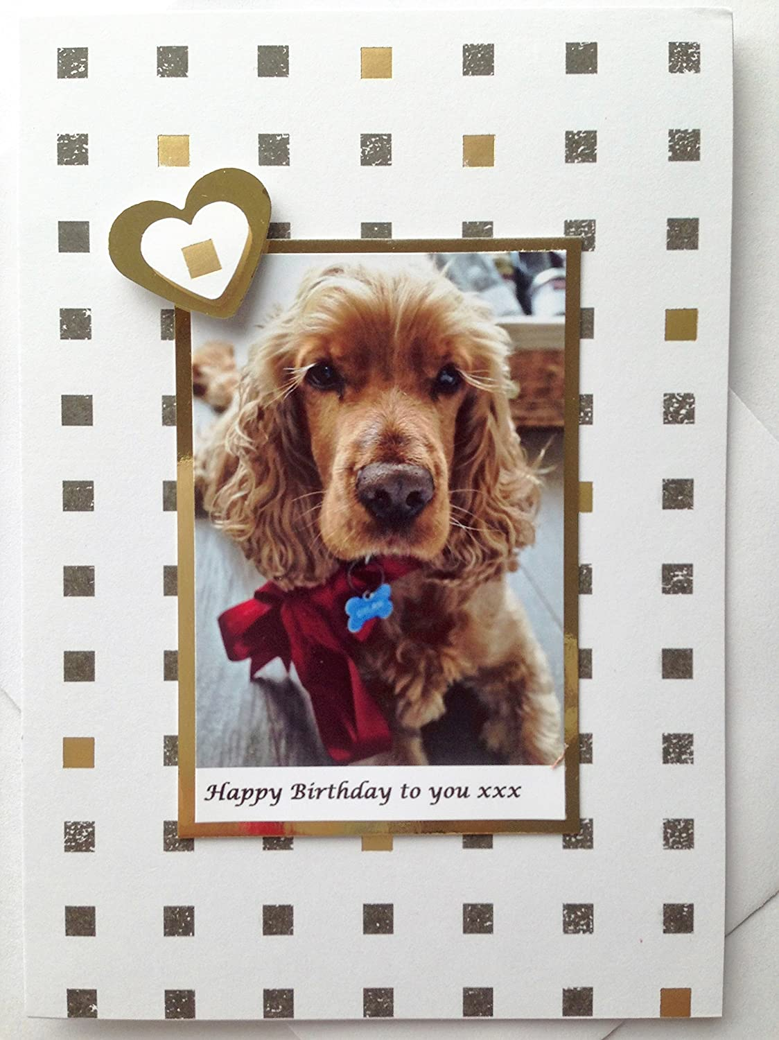 Amazon COCKER SPANIEL Greetings Dog Card Happy Birthday Wishes Handmade Lover Notecard Notelet Thank You Anniversary Cake Present A6 C6