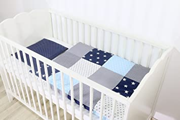 Ullenboom Babybettwäsche Set Blau Hellblau Grau 2 Tlg Baby