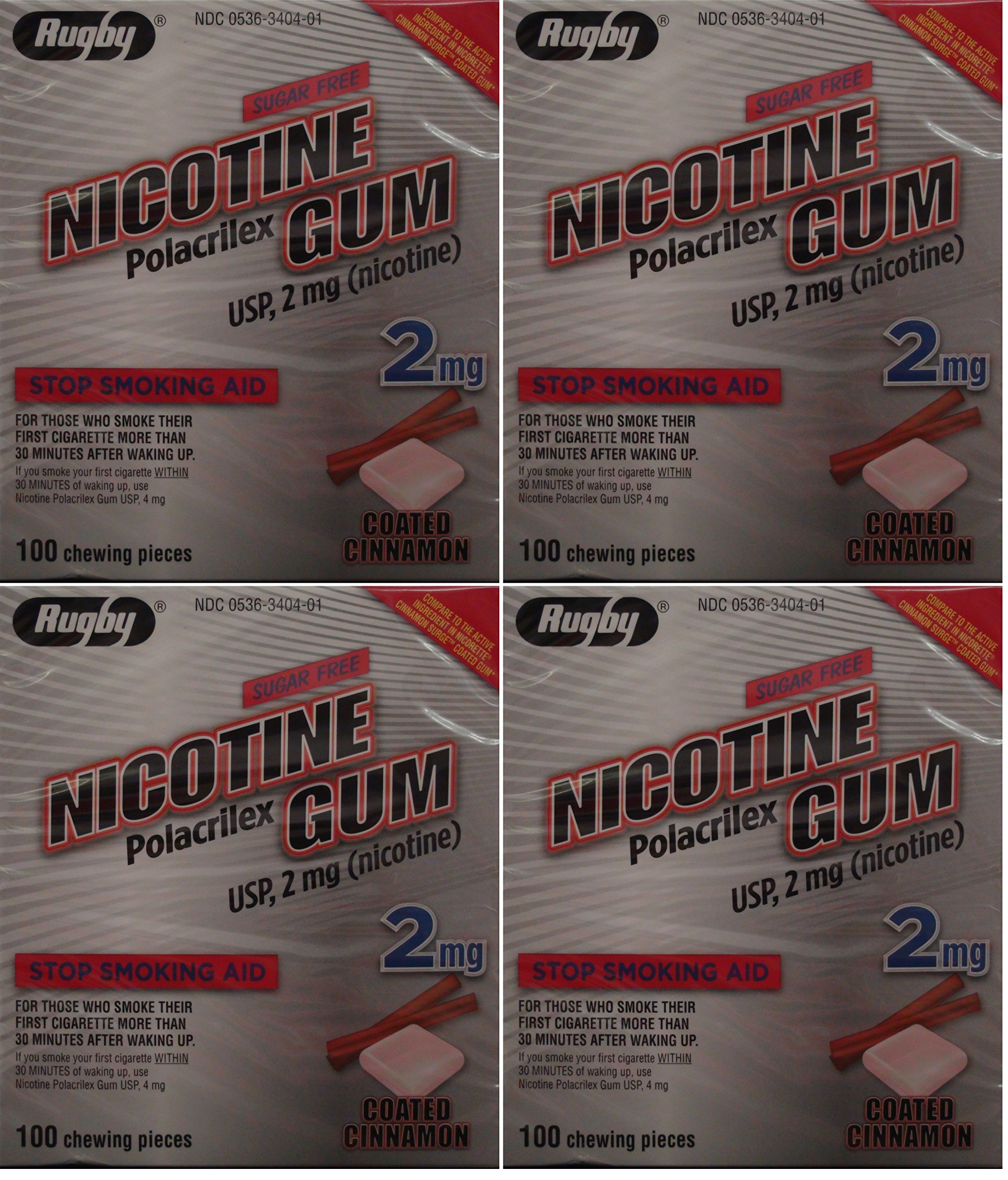 Nicotine Gum 2mg Sugar Free Coated Cinnamon Generic for Nicorette 100 Pieces per Box Pack of 4 Total 400 Pieces