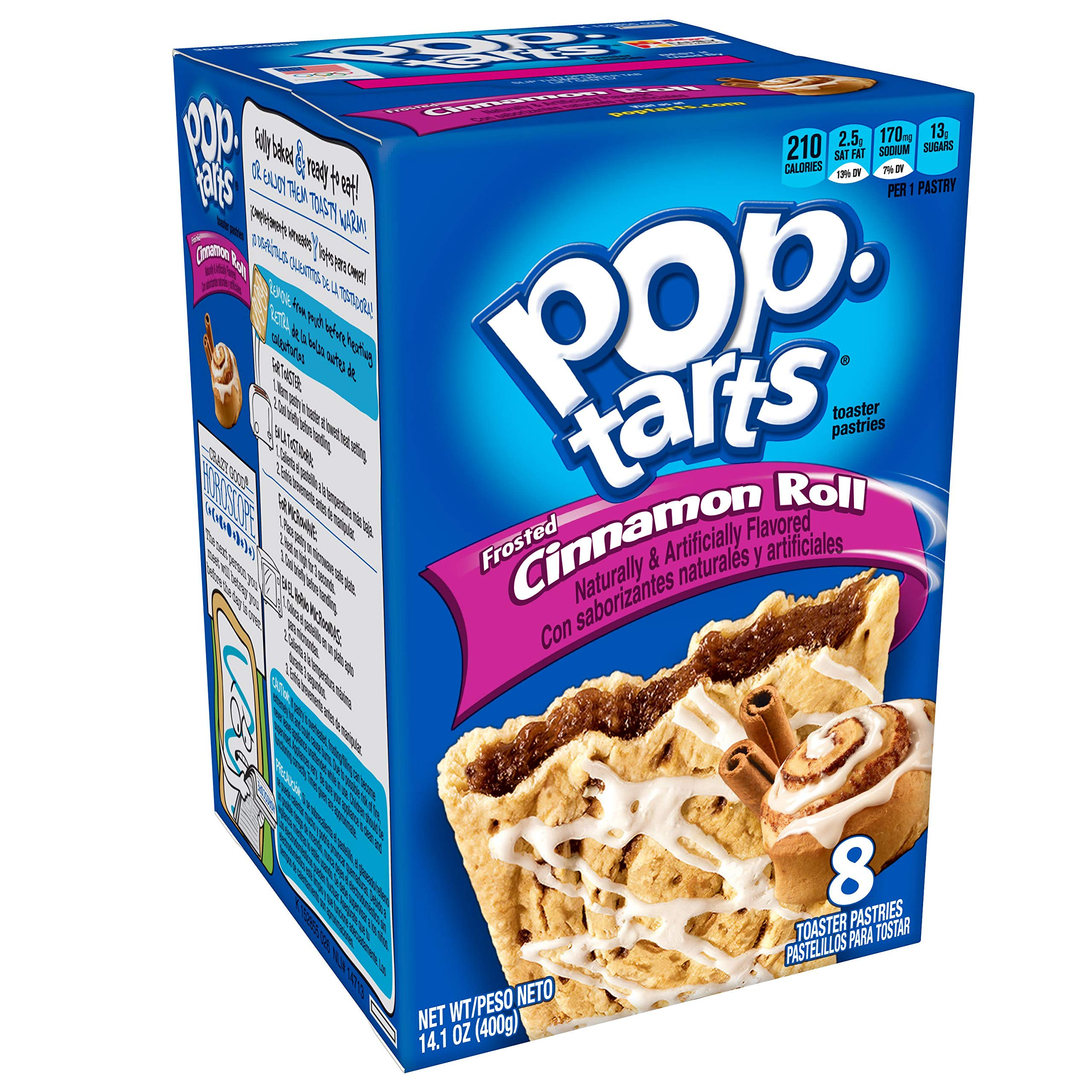Pop-Tarts Breakfast Toaster Pastries, Frosted Cinnamon Roll Flavored, 14.1 oz (8 Count)(Pack of 12) by Pop-Tarts