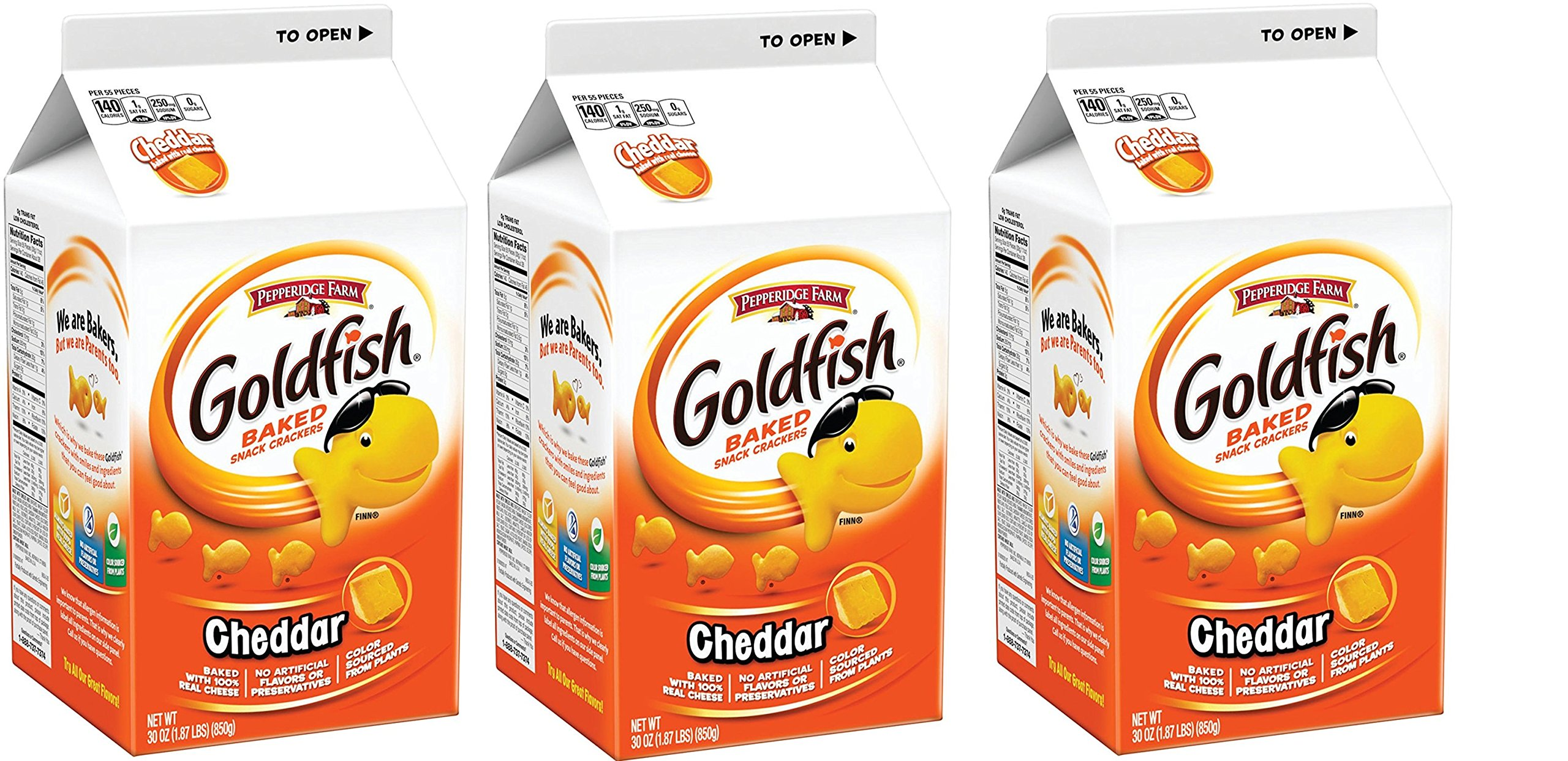 Goldfish Crackers, Cheddar, 30 Ounce 18 Boxes