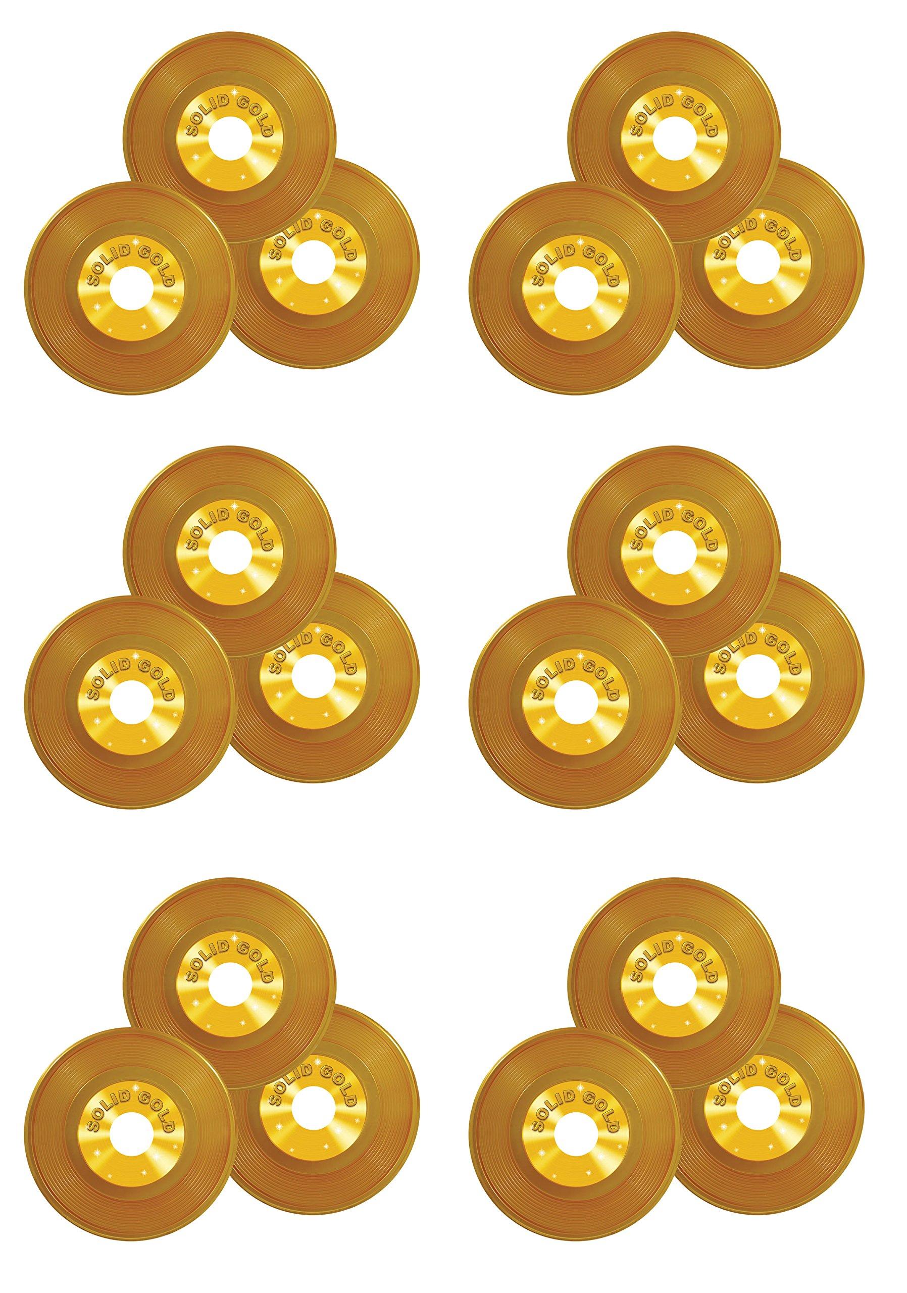 Beistle S57208Az6 Plastic Records 18 Piece, 9'', Gold by Beistle