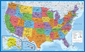 """Laminated USA Map - 18"""" x 29"""" - Wall Chart Map of The United States of America - Made in The USA - Updated for 2020 (Laminated, 18"""" x 29"""")"""