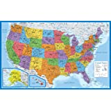 """Laminated USA Map - 18"""" x 29"""" - Wall Chart Map of The United States of America - Made in The USA - Updated for 2020 (Laminate"""