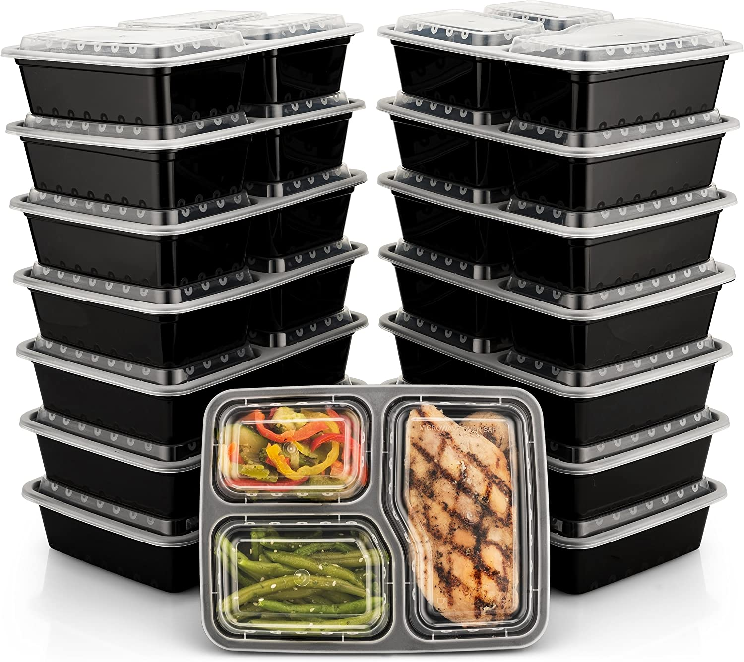 BloominGoods Meal Prep Containers | 3 Compartment Food Storage Container with Lids | Microwave, Dishwasher Safe, Reusable Portion Control Plates (15-Pack) by Bloomingoods