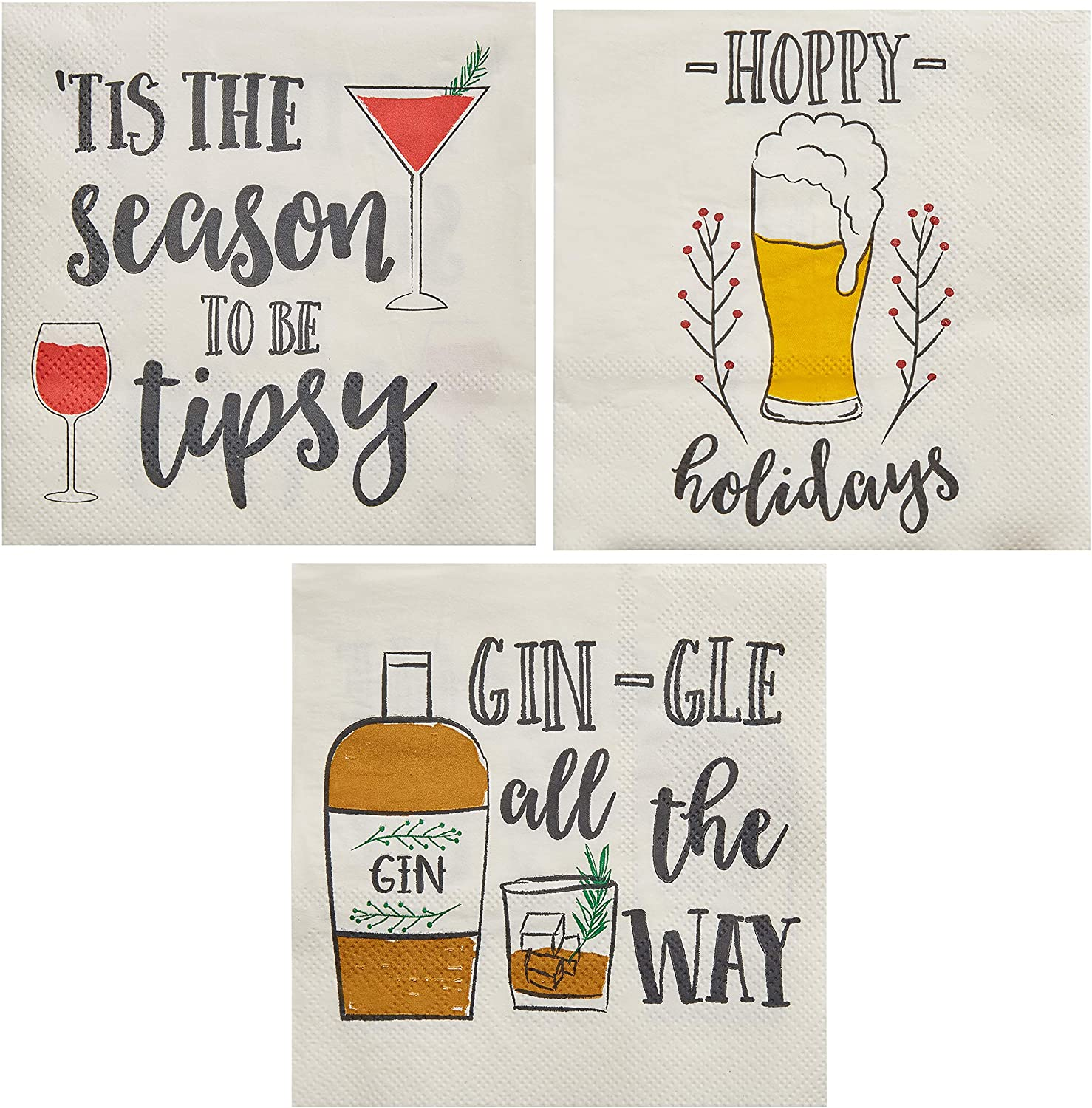 Funny Holiday Cocktail Napkins, Christmas Party Supplies (5 x 5 In, 150 Pack)