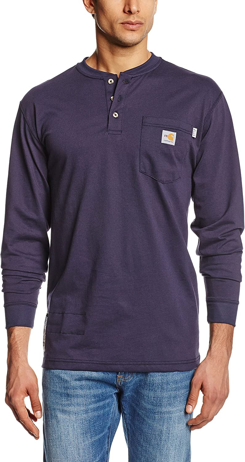 Carhartt Mens Flame Resistant Force Cotton Long Sleeve Henley