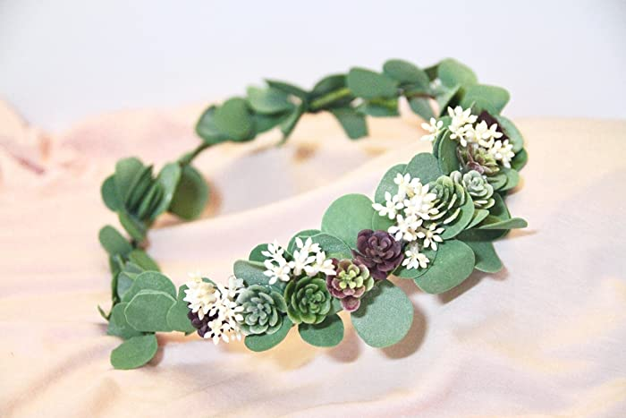 20219c4ec6d8e4 Amazon.com  Eucalyptus Green wedding Crown. Green Flower Crown. Succulent  flower crown. Greenery Crown. Flower Crown. Sage eucalyptus flower.   Handmade