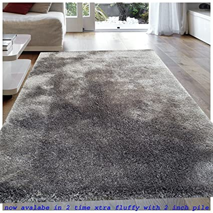 TAUHID CARPET Microfiber Super Soft Extra Fluffy Anti-Skid Shaggy Area Rug Carpet for Dining Room Home Bedroom, 5.3x7.6ft(Light Grey)