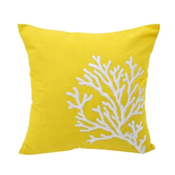 Amazon.com: Coral Throw almohada amarillo Lino y Algodón ...