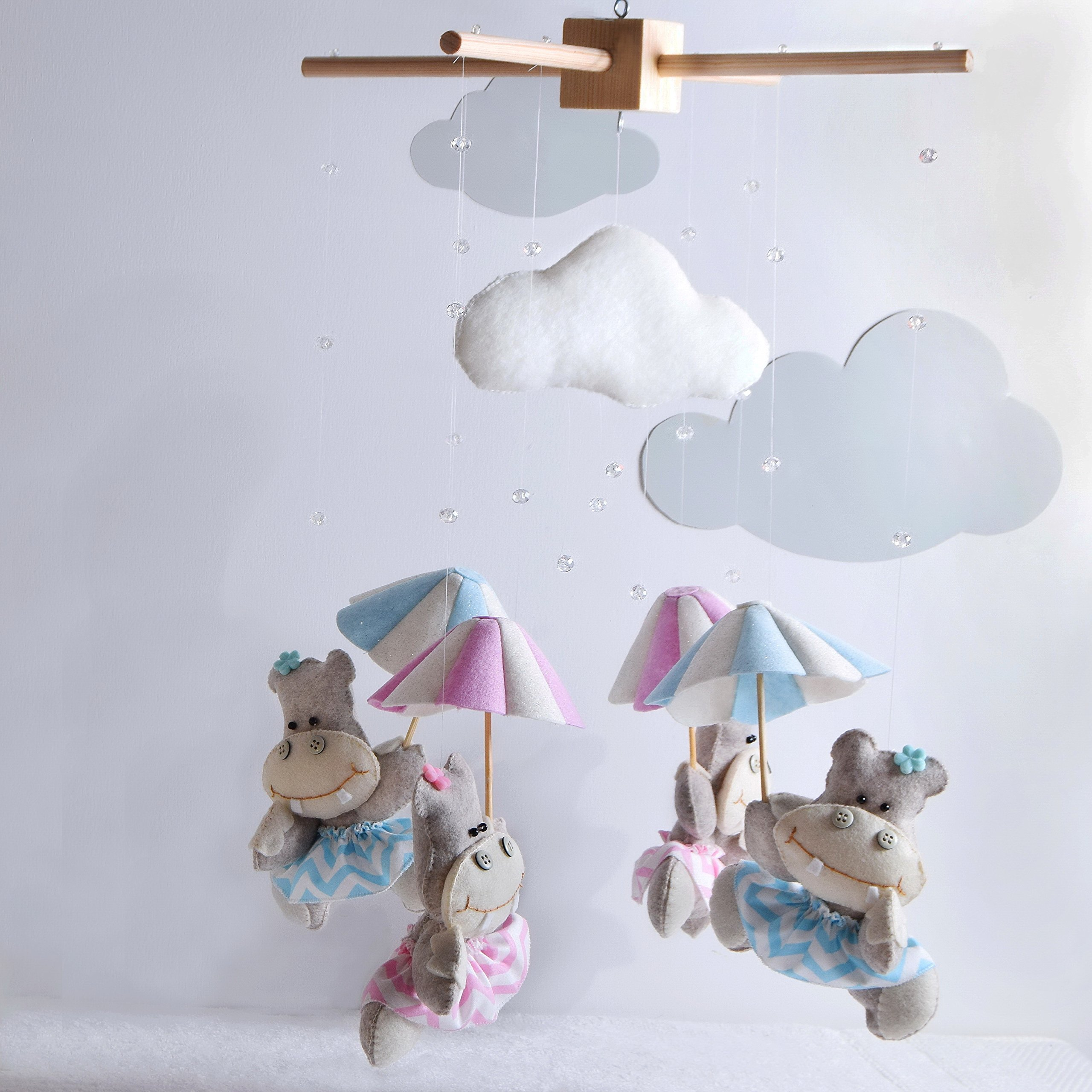 Hippo Hanging Baby Mobile-3 DAYS WORLDWIDE DELIVERY BY UPS- Baby Shower Gift-Baby Girl Nursery Decor-Fully Customized Baby Mobile-