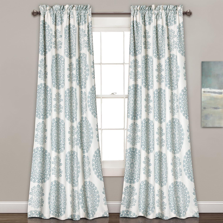 "Lush Decor Seafoam Medallion Room-Darkening Window Curtain Set (84"" x 52"")"