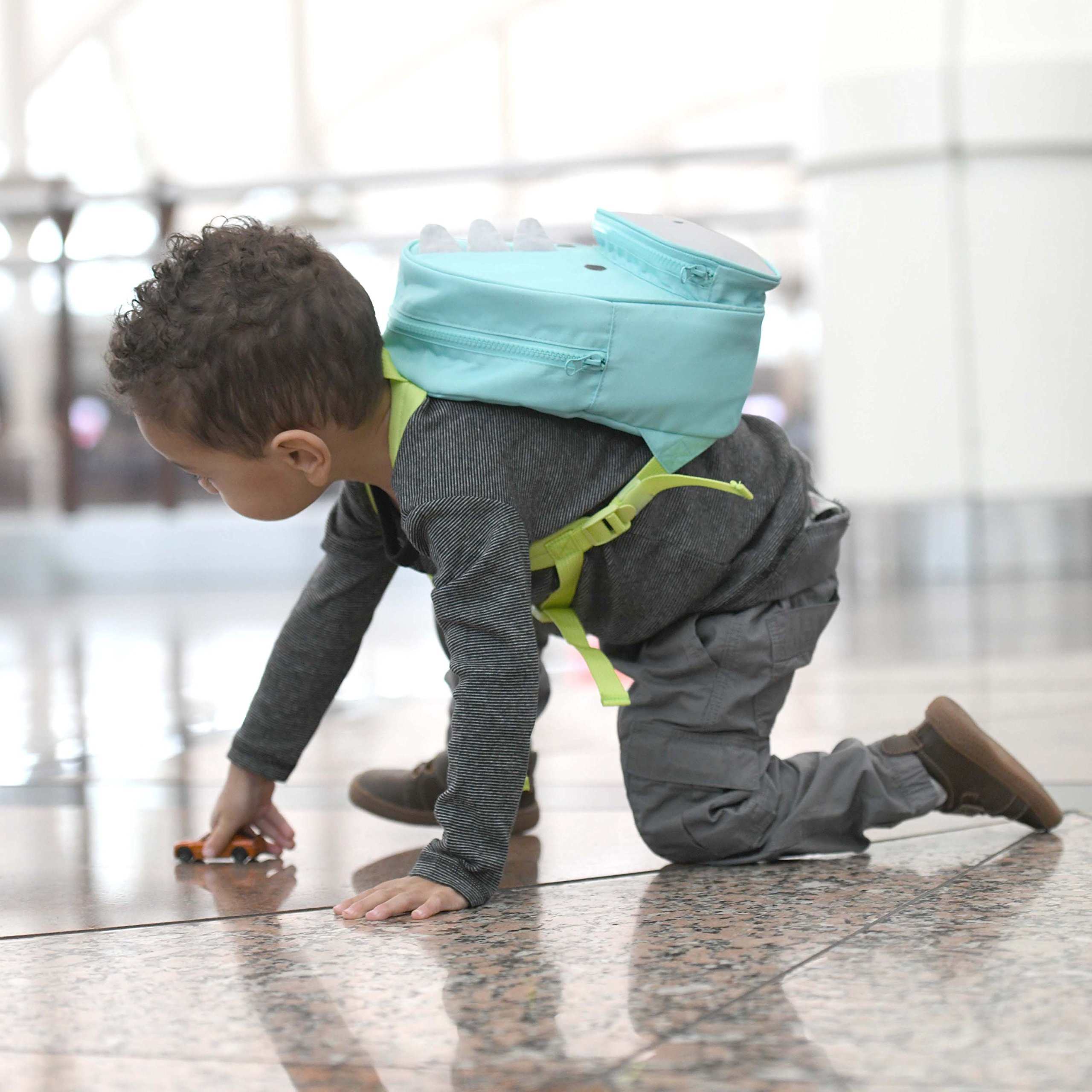 Travel Bug Toddler Safety Dinosaur Backpack Harness with Removable Tether, Teal/Grey by Travel Bug (Image #6)
