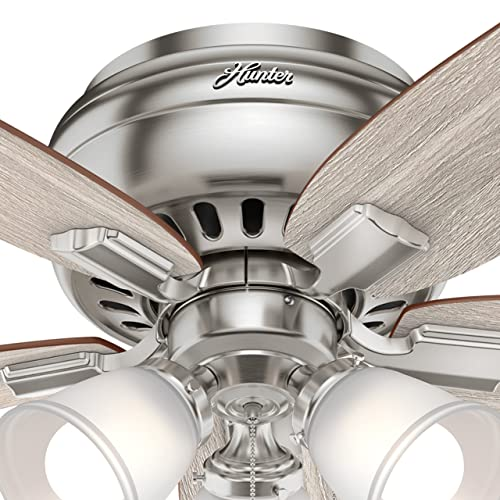Hunter 42 in. Low Profile Ceiling Fan with LED Light in Brushed Nickel Renewed