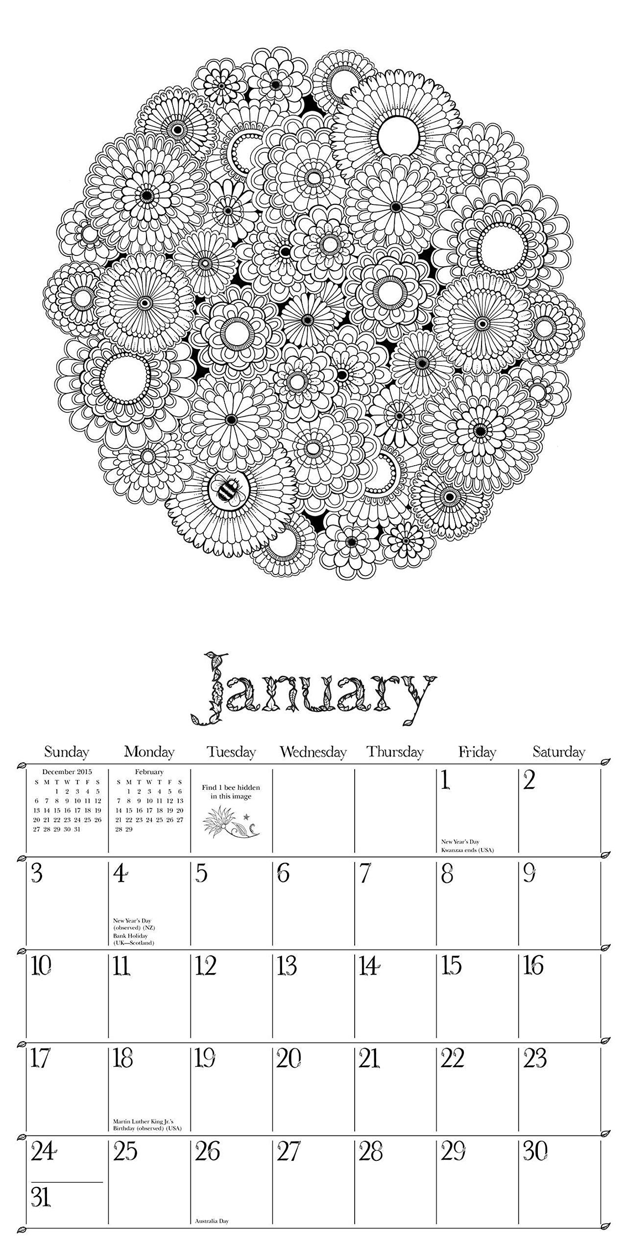 Secret Garden 2016 Wall Calendar: An Inky Treasure Hunt and ...