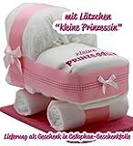 """Kleine Windeltorte / Windelwagen rosa für Mädchen - mit Lätzchen """"kleine Prinzessin"""" - das perfekte Geschenk zur Geburt oder Taufe + gratis Klappkarte"""