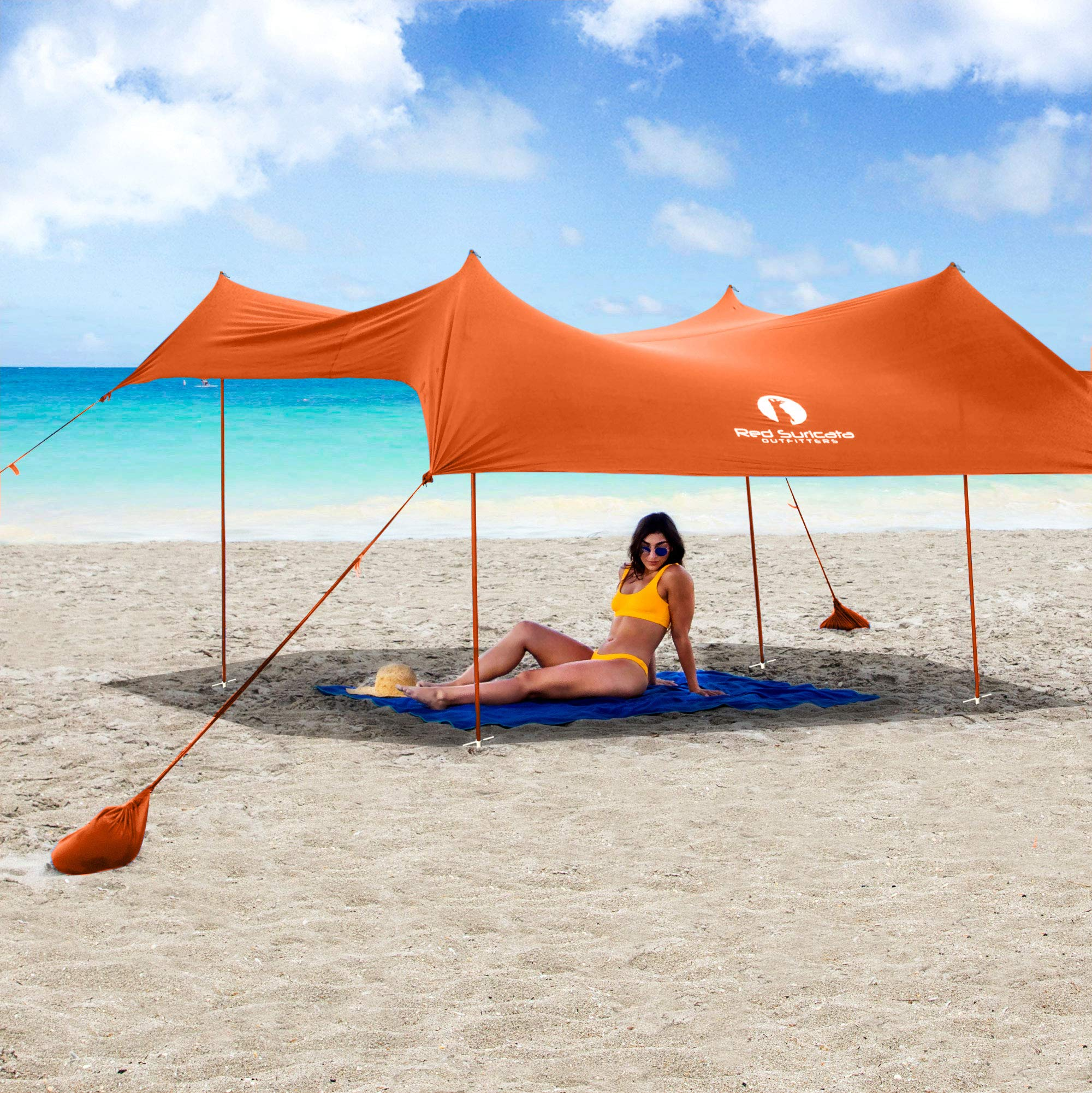 Red Suricata Family Beach Sunshade - Sun Shade Canopy | UPF50 UV Protection | Tent with 4 Aluminum Poles, 4 Pole Anchors, 4 Sandbag Anchors | Large & Portable Shelter Tarp (Orange, Medium) by Red Suricata