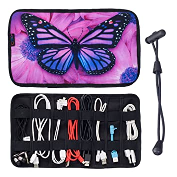 iColor Butterfly Electronics Accessories Organizer Makeup Brush Organizer Roll Up Jewelry Organizer Travel Organizer Cable Holder