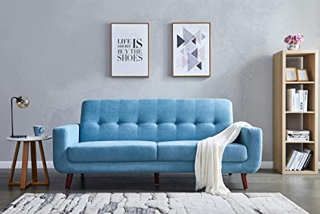 Surprising Eiiox Mid Century Retro Sofa With Armrest Leisure Couch Button Tufted Easy Assembly Chaise Lounge For Any Style Of Living Room Bedroom Office Etc Pabps2019 Chair Design Images Pabps2019Com