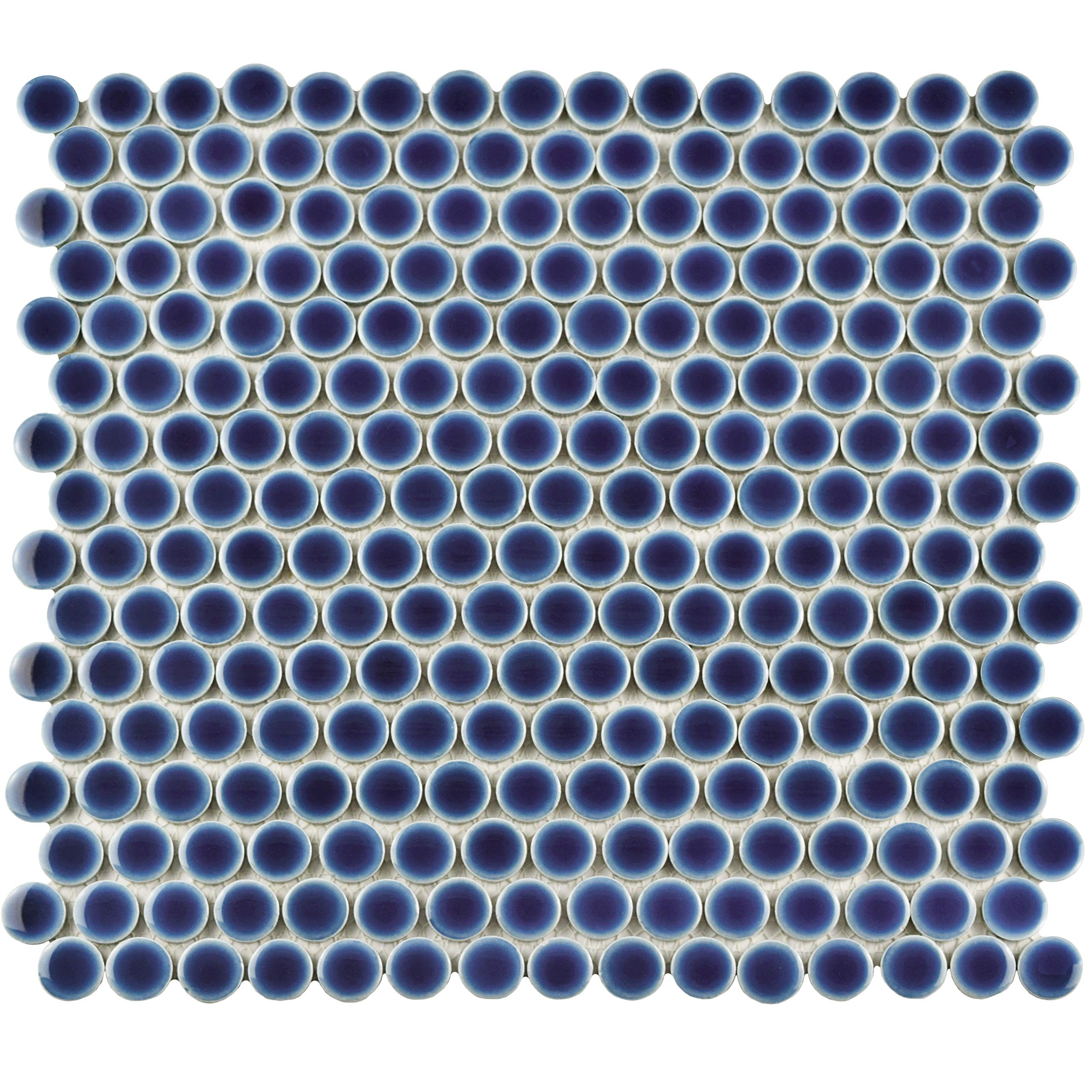 SomerTile FKOMPR04 Penny Porcelain Mosaic Floor and Wall, 12'' x 12.625'', Smoky Blue Tile, 10 Piece