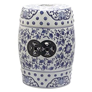 Safavieh Castle Gardens Collection Tao Blue and White Glazed Ceramic Garden Stool
