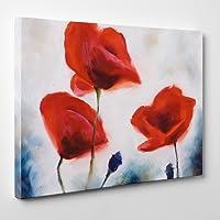 ConKrea Quadro moderno–encadre–Pittura su tela–pronto da appendere–Fiori–Fiori–Natura–Arte del Paesaggio–Poppies–(cod.004)