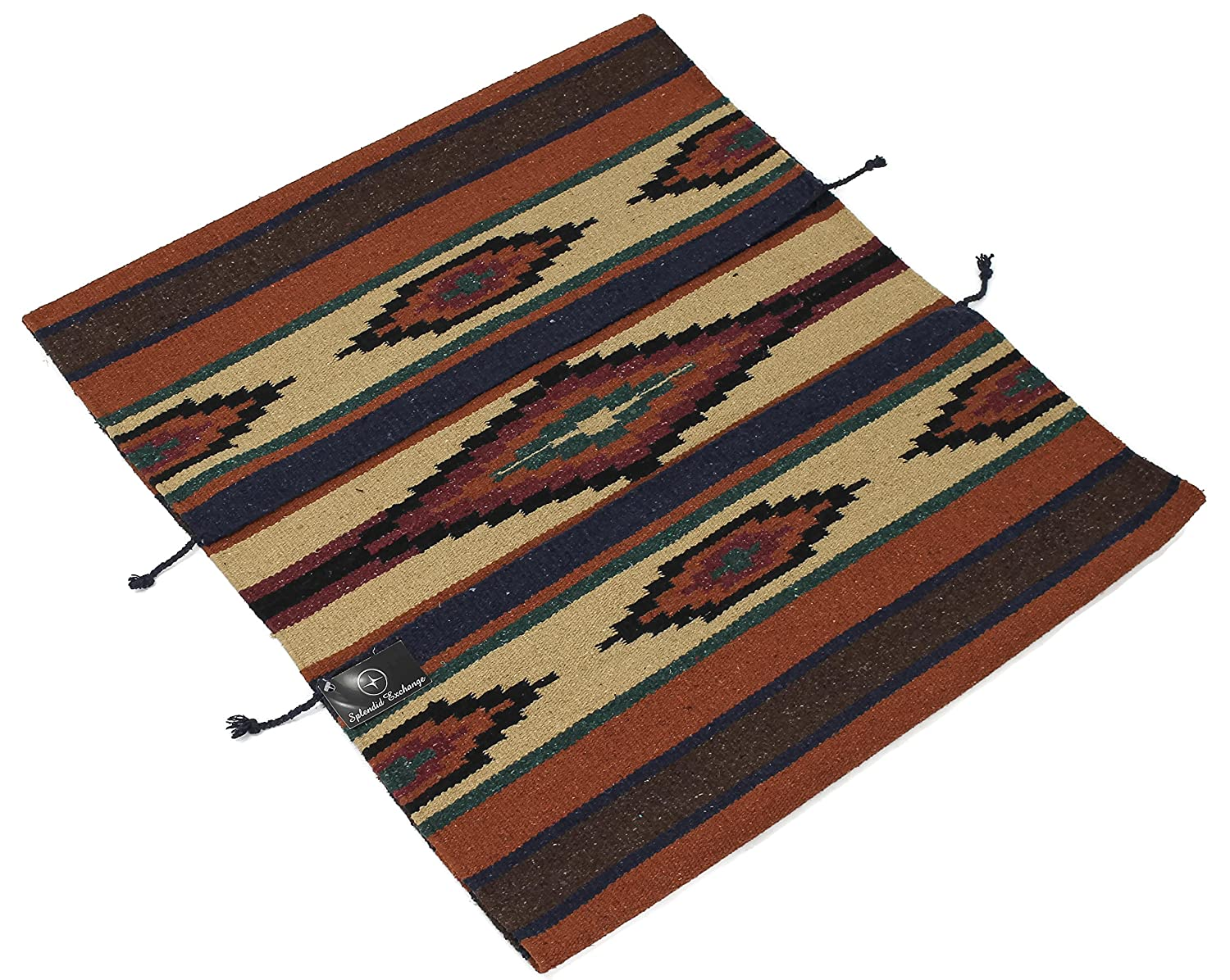 Splendid Exchange Hand Woven Southwest Area Rug Dark Brown and Tuscany Red 2.7 by 5.3 Foot