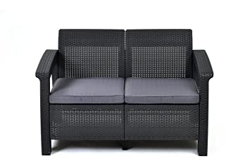 keter corfu love seat all weather outdoor patio garden furniture w cushions charcoal