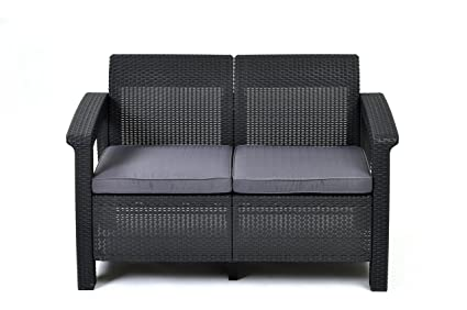 Incroyable Keter Corfu Love Seat All Weather Outdoor Patio Garden Furniture  W/Cushions, Charcoal