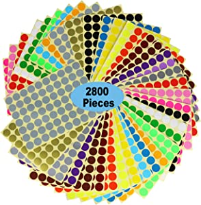 "2800 Dots 3/4"" Round Color Coding Labels Circle Dot Stickers,20 Colors Neon Color Coded Stickers Color-Coding Labels Label Circle Stickers,Print or Write for Office, Classroom."