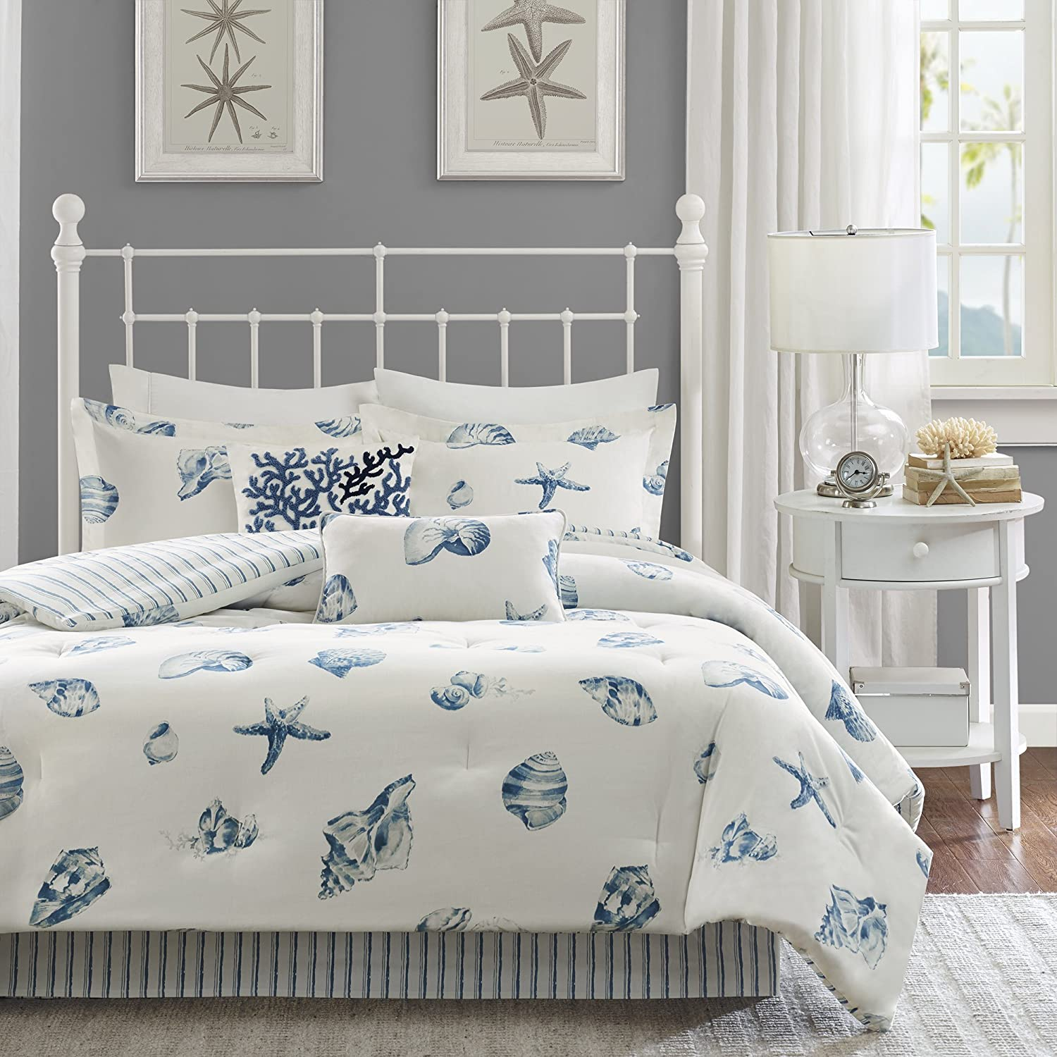 Harbor House Beach House Queen Size Bed Comforter Set - Blue, Ivory, Seashells – 4 Pieces Bedding Sets – 100% Cotton Bedroom Comforters