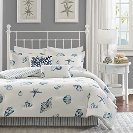 bed blue com comforter dp ivory amazon set beach seashell seashells harbor house queen size