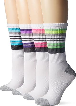 4 COLORS ASSORTMENTS Shoe 5-9 4 Pack Hanes Women/'s Cool Comfort Crew Socks
