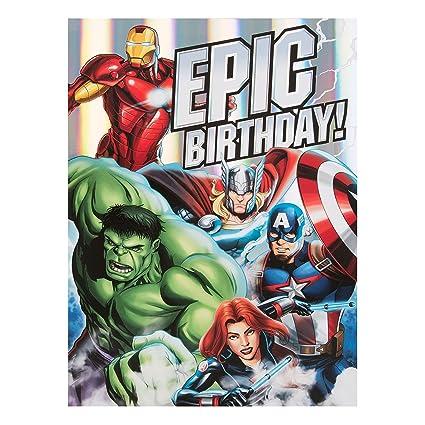 Amazon Avengers Large Epic Birthday Card Hulk Thor Iron Man