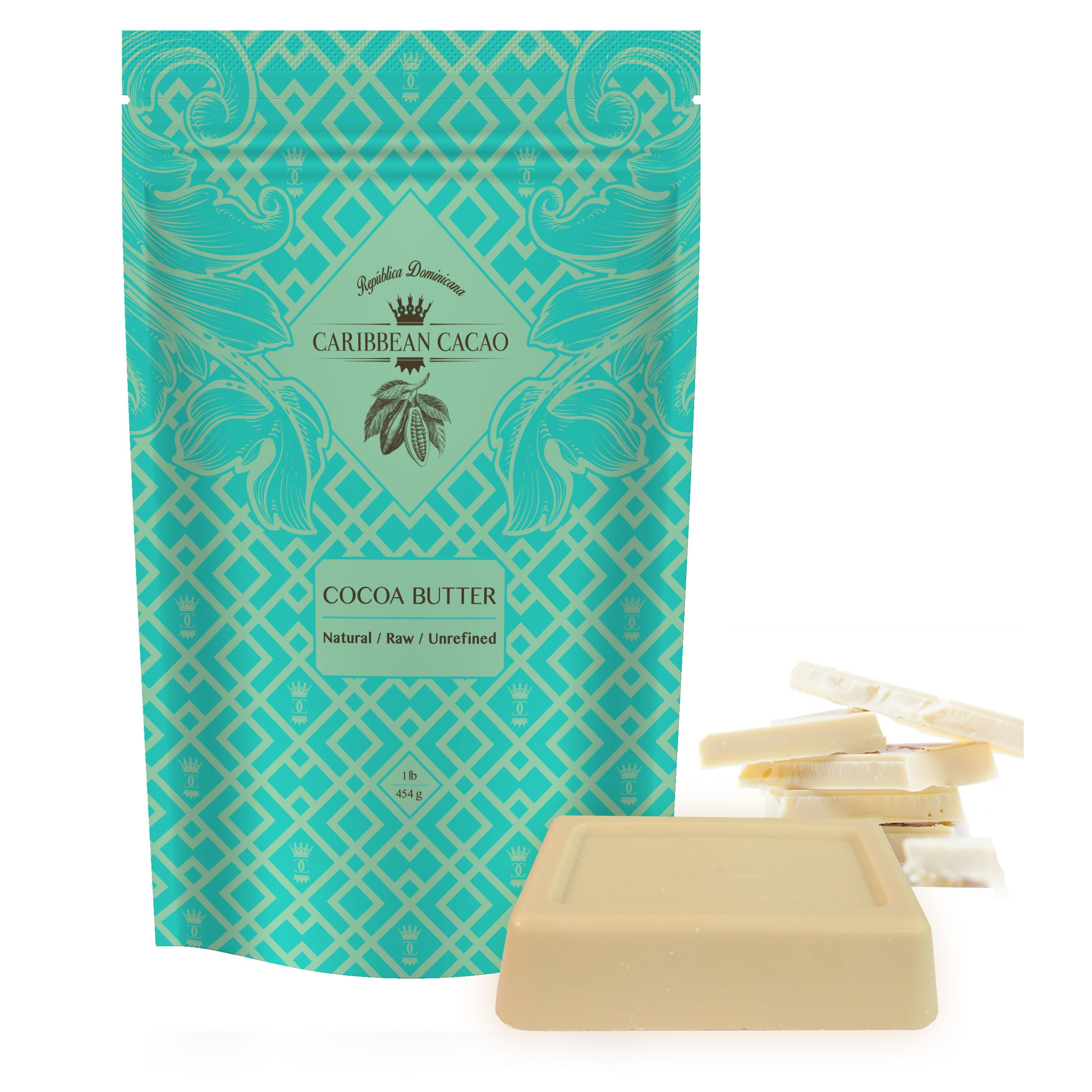 Caribbean Cacao Ultimate Cocoa Butter - Delightfully Rich Scent & Highest Quality, From our exclusive source in the Dominican Republic. 1 LB Body Butter Bar For Stretch Marks, Dry Skin, Acne etc by Caribbean Cacao