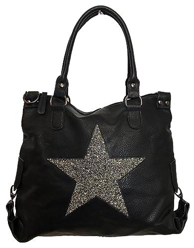 das Neueste Großhandelsverkauf auf großhandel STERN Glitzer Damen Tasche Star Fashion Shopper Henkeltasche PU LEDER  Kunstleder
