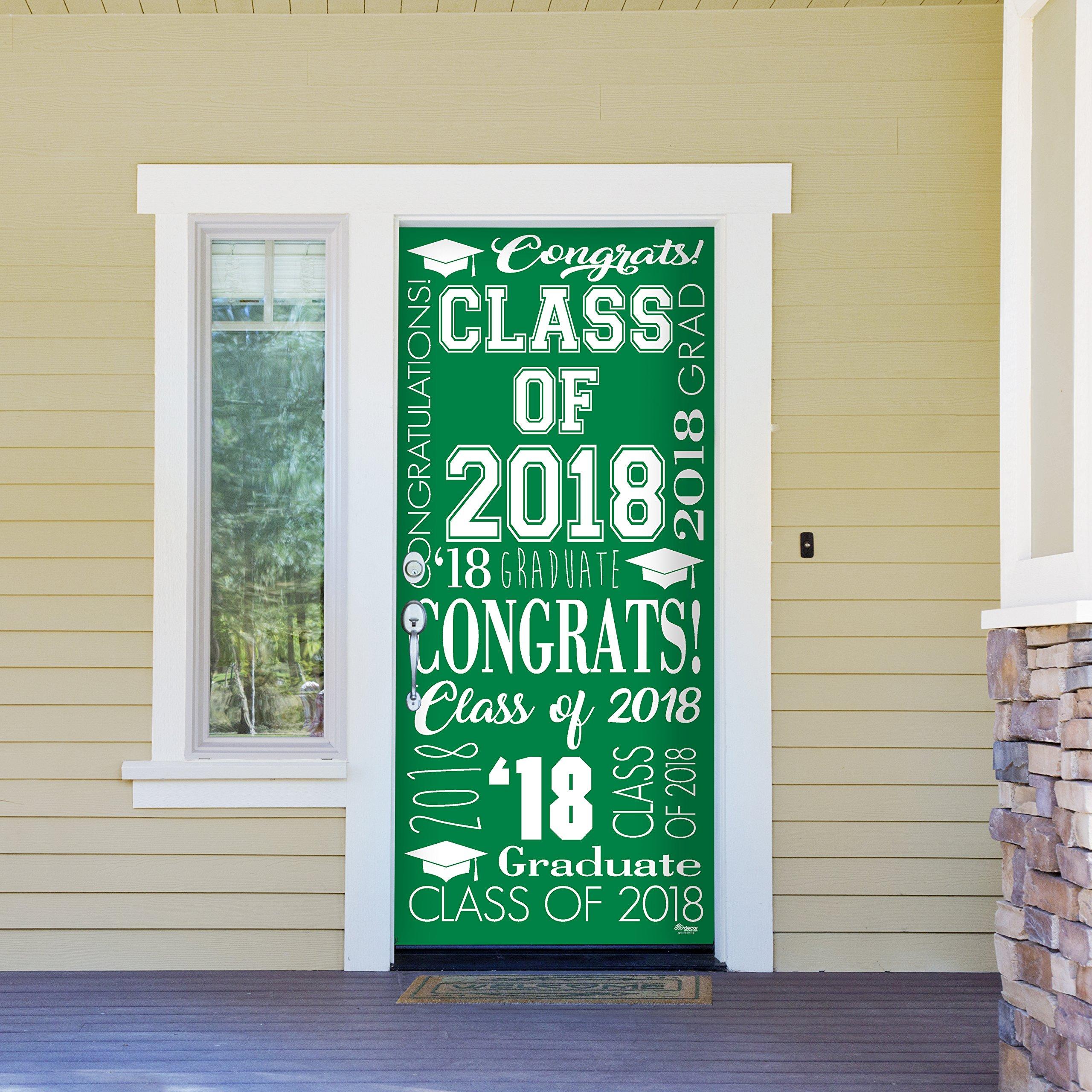 Victory Corps Collage Green - Outdoor GRADUATION Garage Door Banner Mural Sign Décor 36'' x 80'' One Size Fits All Front Door Car Garage -The Original Holiday Front Door Banner Decor
