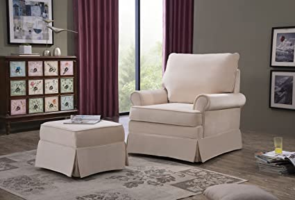 Pleasing Amazon Com Elisanliving Swivel Rocking Chair With Ottoman Ncnpc Chair Design For Home Ncnpcorg