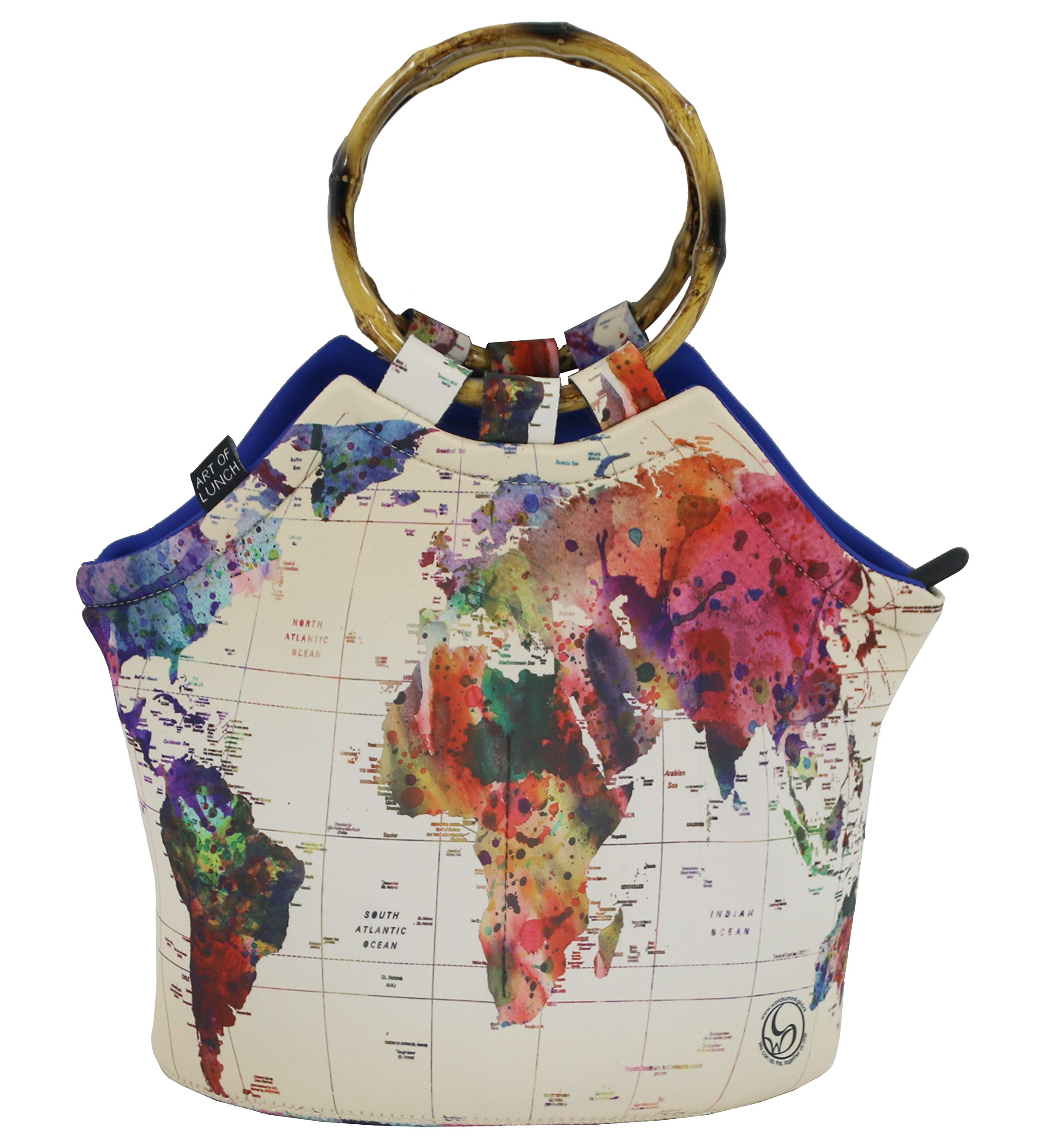 Art of Lunch Large Neoprene Lunch Bag Purse 11'' X 15'' X 6''. All Proceeds Go to Support The World Summit. Design by Mark Ashkenazi (Israel) - World Map