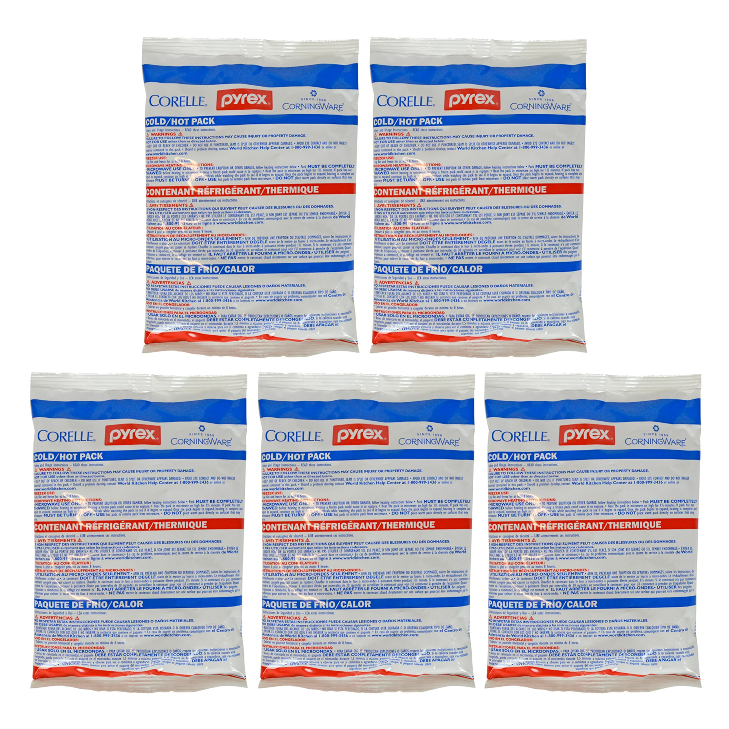 Pyrex Small Portable Hot & Cold Pack 8.5'' x 6'' - 5 Pack