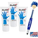 3 Pack Alcohol Free Hand Sanitizer Germicidal Gel | No Drying Foam | Advanced Moisturizers | No Active Ingredients Penetrate Skin | 3oz Tube & Bonus Gift by fiteBac