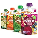 Happy Tot Organic Stage 4 Love My Veggies 4 Flavor Variety Pack, 4.22 Ounce (Pack of 16)